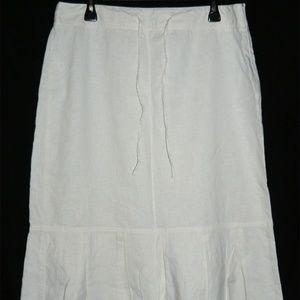 ANN TAYLOR LOFT Ivory LINEN Blend Skirt, EUC